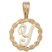 9ct Gold Round rope edged Initial letter Y pendant 0.8g